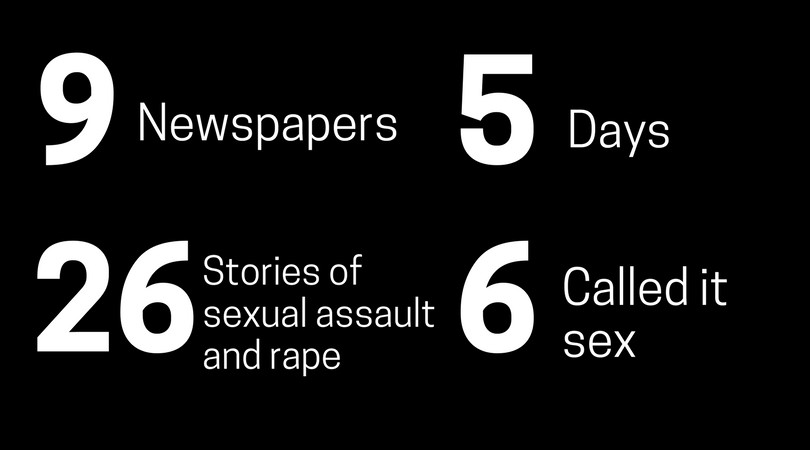 9 newspapers, 5 days 26 stories of sexual assault and rape, 6 called it sex