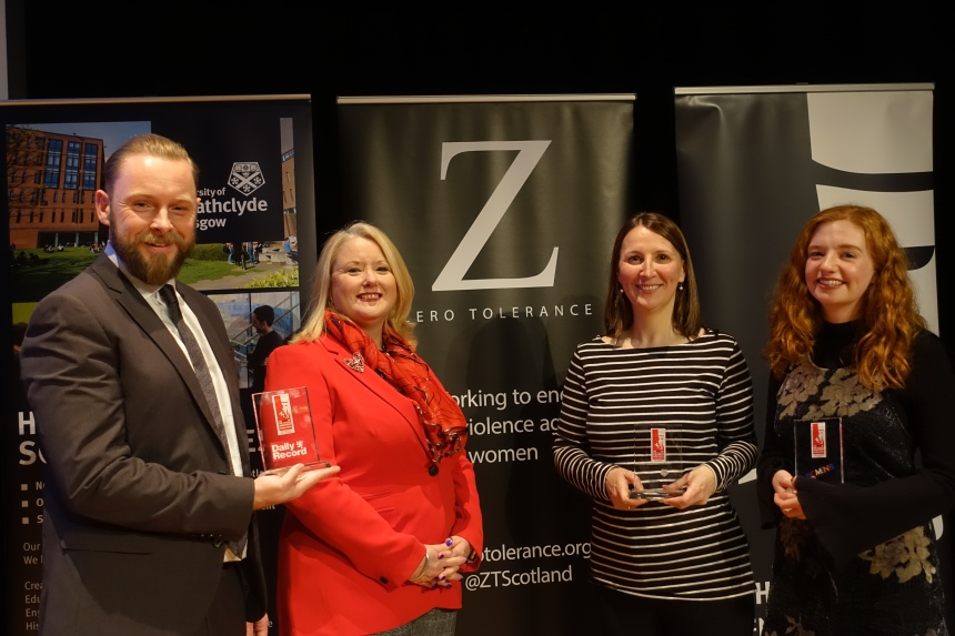 Picture of Christina McKelvie MSP, standing with Peter Swindon, Rosie Hilton, and Leslie McMillan holding trophies - all smiling!