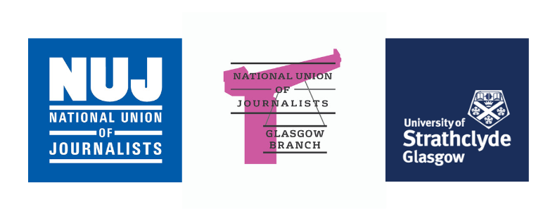 Logos of National Union of Journalists, National Union of Journalists Glasgow Branch, and The University of Strathcylde